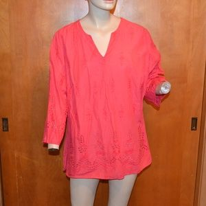 St. John's Bay Pink Eyelet 3/4 Sleeve Shirt 2X